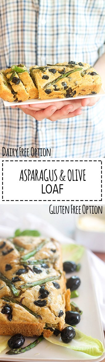 "Asparagus & Olive Loaf | Raising Sugar Free Kids - a delicious savoury loaf ""cake"" that is healthy, filling and delicious as a lunch or snack. Easily made Paleo, low carb, dairy free and gluten free with just a couple of simple changes mentioned in the recipe."