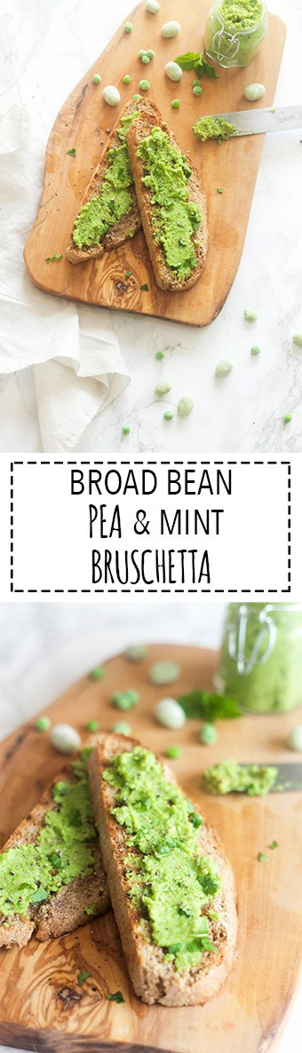 Broad Bean, Pea & Mint Bruschetta | Raising Sugar Free Kids - a really yummy springtime sandwich spread that is just as delicious stirred into pasta or spread over grilled meat/fish or even used as a dip or baby puree! This versatile spread is so much more than a sandwich filler, and it's got a beautifully subtle, springtime flavour to it.