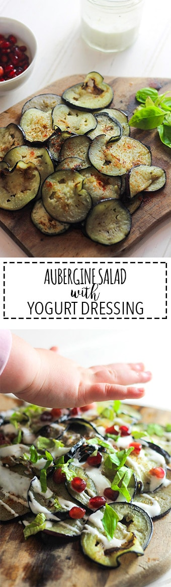 Aubergine Salad with Yogurt Dressing | Raising Sugar Free Kids - gone are the days where salads were dull bland leaves and the occasional tomatoes. This is a salad everyone will love, with a deep smoky flavour and a creamy yogurt dressing!