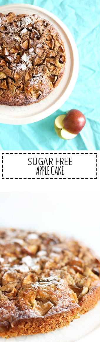 Sugar Free Apple Cake | Raising Sugar Free Kids - this moist apple cake is delicious, moist, soft and light. Perfect for a summer cake served outdoors with a large dollop of creme fraiche and a strong cup of coffee!