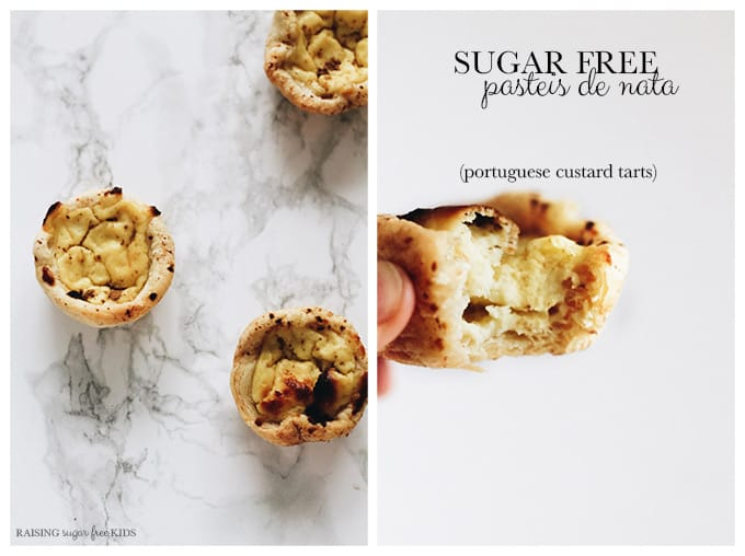 "Sugar Free Pasteis de Nata (Portuguese Custard Tarts) | Raising Sugar Free Kids - a sugar free version of ""pasteis de nata"" - Portuguese custard tarts. Creamy, silky smooth, sweet and filling, these tarts are perfect for impressing guests. They take a bit of faff, but are completely worth it."