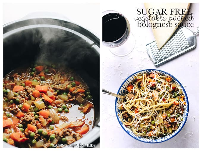 Sugar Free Vegetable Packed Bolognese Sauce | Raising Sugar Free Kids - a classic Bolognese sauce with added (but barely noticed) vegetables, no sugar and plenty of flavour!