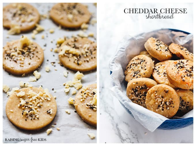 Cheddar Cheese Shortbread | Raising Sugar Free Kids - delicious, crumbly, soft, 3-ingredient cheddar cheese shortbread biscuits. A perfect savoury snack, quick to make and incredibly easy. Perfect for #sugarfreefebruary or a family baking session. :) #sugarfree #snacks