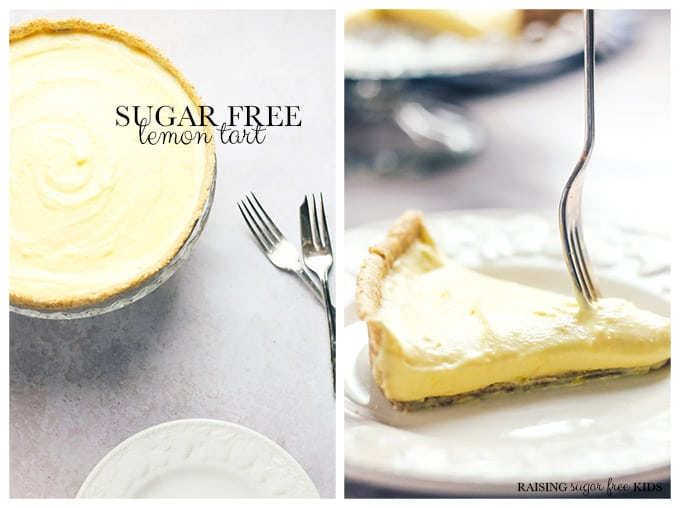 Sugar Free Lemon Tart | Raising Sugar Free Kids - zingy, citrussy, sweet, tart, creamy, delicious... this gorgeous lemon tart is also healthier and sugar free! Made with just a few ingredients in little time, it is an excellent dessert to impress guests on short notice. :) #lemon #sugarfreejanuary #sugarfree