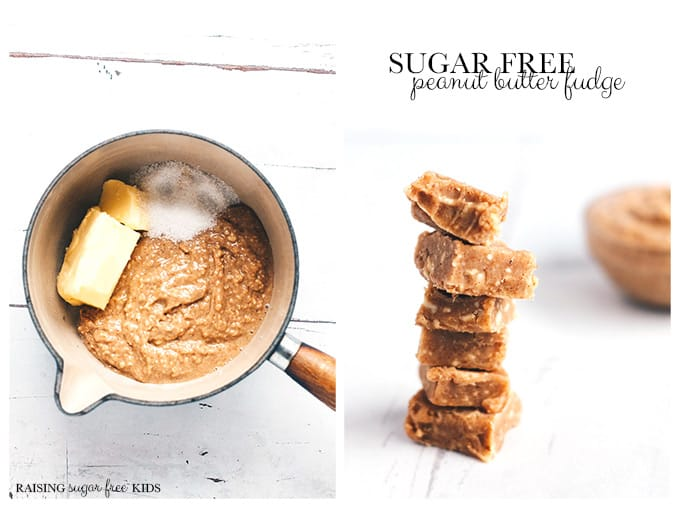 Sugar Free Peanut Butter Fudge   Raising Sugar Free Kids - an easy, quick sugar free snack that is perfect for #sugarfreefebruary or all year round. Creamy, sweet and delicious. #sugarfree #snacks