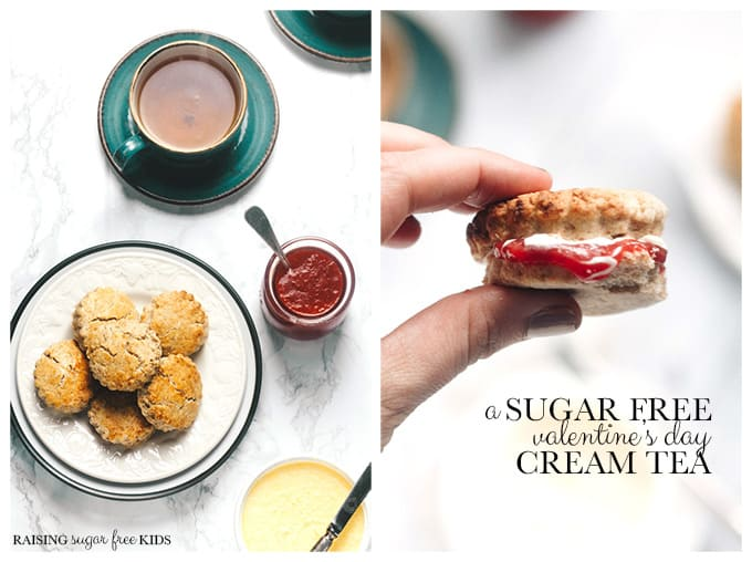 A Sugar Free Valentine's Day Cream Tea | Raising Sugar Free Kids - a yummy sweet but sugar free treat for Valentine's Day this year. Particularly great if you are doing #sugarfreefebruary but don't want to miss out on a #valentines treat. Easy and super quick to make, really tasty, cheap and fun. Gluten free and vegan options included. #veganvalentine #sugarfree