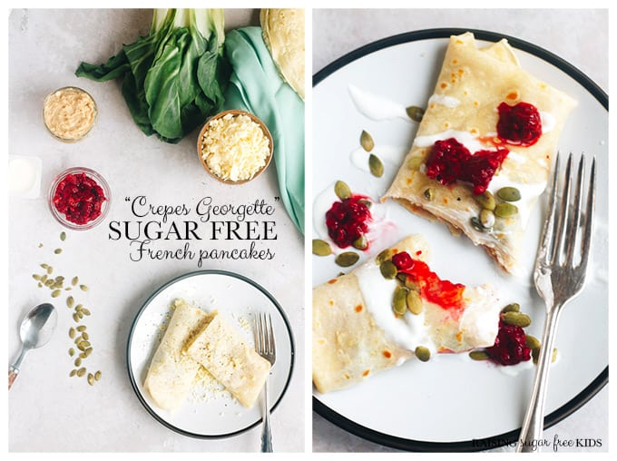 Crepes Georgette - Sugar Free French Pancakes | Raising Sugar Free Kids - here's to a delicious sugar free #pancakeday! Whether you are in the middle of #sugarfreefebruary or just want a lower sugar celebration, this crepe recipe is the world's best from my very own French grandmother. Includes sugar free sweet & savoury topping/filling ideas! #sugarfree