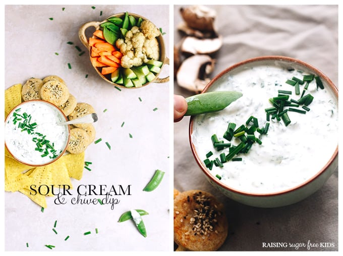 Sour Cream & Chive Dip | Raising Sugar Free Kids - a delicious, creamy, filling dip that is cheap, easy and ready in seconds. Just stir and serve. Prep some veggies at the weekend for an instant healthy weekday snack. Perfect for #sugarfreefebruary when you need a quick pick-me-up. #sugarfree #sauces #snacks