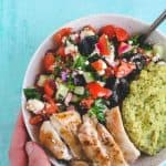 Greek Salad Hummus Chicken Bowls | Raising Sugar Free Kids - a delicious, salty, creamy springtime bowl of Greek-style goodness. This is an easy dairy, gluten and sugar free, low carb dinner for warmer days. #dairyfree #sugarfree #glutenfree #lowcarb